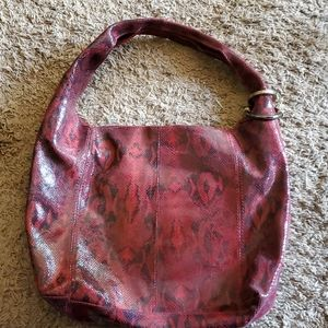 Kate landry leather snakeskin hobo